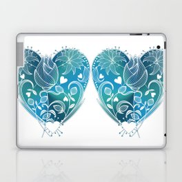 White Inked Floral Heart - Blues Laptop & iPad Skin