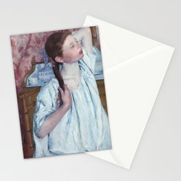 Girl Arranging Her Hair Stationery Cards