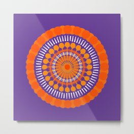 Rough Orange Mandala Metal Print