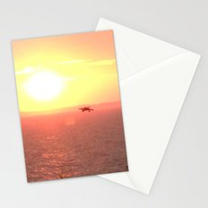 Hawk Hunts at Sunset over the Beach Stationery Cards