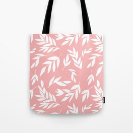 White simple leaves on pink Tote Bag
