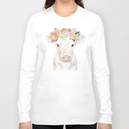 White Calf with Floral Crown Long Sleeve T-shirt