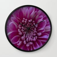 shabby chic Wall Clocks featuring Shabby Chic Flower by Dawn OConnor