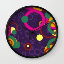 Abstract Pink and Purple Circle Pattern - Colorful Art Wall Clock