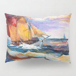 Fishing boats in the sea at sunset Pillow Sham