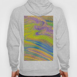 Fluid Art Acrylic Painting, Pour 33, Yellow, Blue, Purple & Green Blended Color Hoody