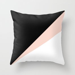 Elegant blush pink & black geometric triangles Throw Pillow