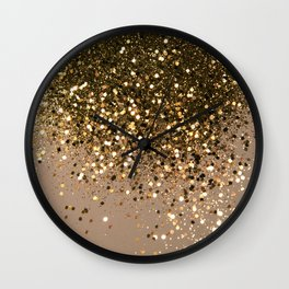 Sparkling Gold Brown Glitter Glam #1 (Faux Glitter) #shiny #decor #art #society6 Wall Clock