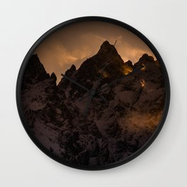 Tetons At Sunset Wall Clock