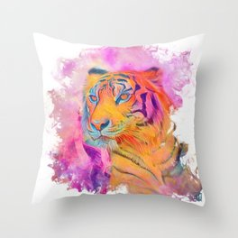 Painterly Animal - Tiger 1 Throw Pillow
