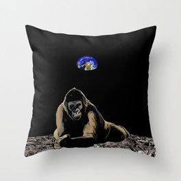 Moon Gorilla  Throw Pillow