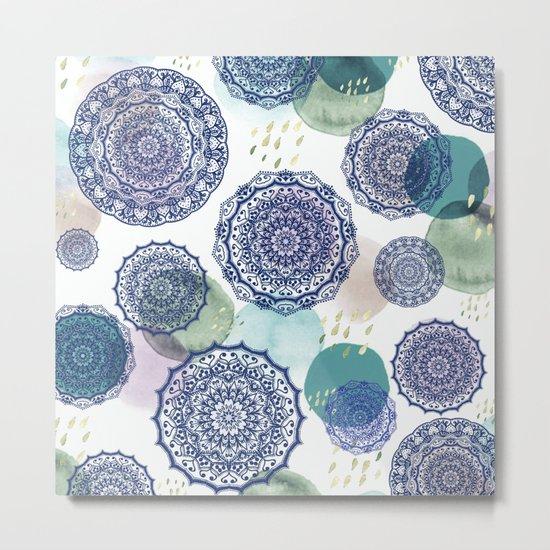 Fall Love Mandala in Blue Metal Print