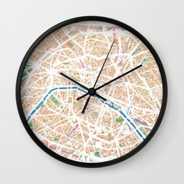 Watercolor map of Paris Wall Clock