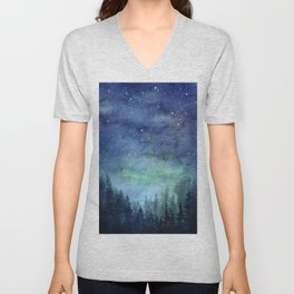 Watercolor Galaxy Nebula Northern Lights Painting Unisex V-Neck