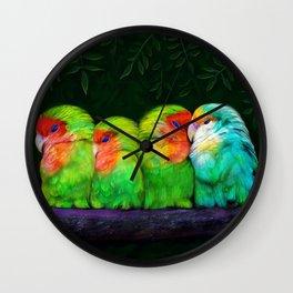 Sleeping Parrots Wall Clock