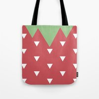 strawberry Tote Bags featuring Strawberry by According to Panda