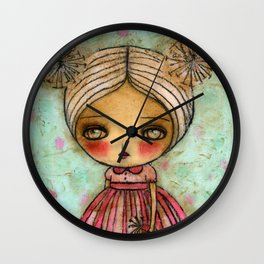 Dandelion Girl in Red And Pink Wall Clock