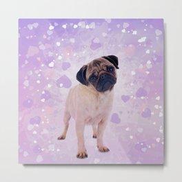 Cute Pug and heats Digital Art Metal Print