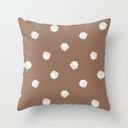 Round Bunny Pattern Cream Brown Throw Pillow