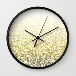 Gradient yellow and white swirls doodles Wall Clock