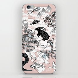"""Primitive Pink, Black and Blue Jungle Pattern"" iPhone Skin"
