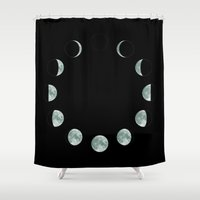 moon phases Shower Curtains featuring Moon phases by ShaMiLa
