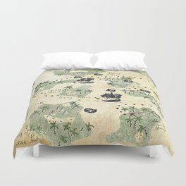 Hand Drawn Pirate Map Duvet Cover