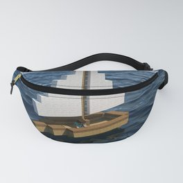 Mine craft boat on the ocean Fanny Pack