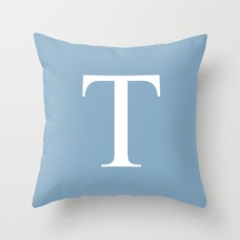 Letter T sign on placid blue background Throw Pillow