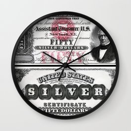 Vintage 1878 US $50 Silver Certificate Bank Note Wall Clock