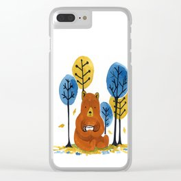 Coffee Bear Clear iPhone Case