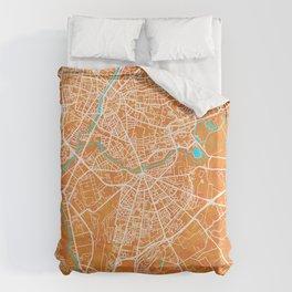 Le Mans, France, Gold, Blue, City, Map Duvet Cover