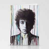 bob dylan Stationery Cards featuring Bob Dylan by Denise Esposito