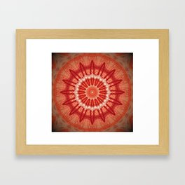 Dark Orange Mandala Design Framed Art Print