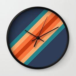 Blue & Orange Retro Stripes Wall Clock