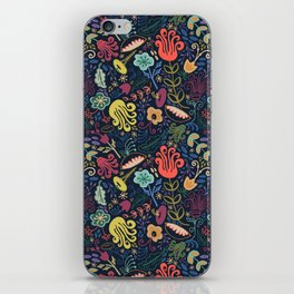 Navy Vintage Floral // Hand Drawn Funky Flowers, Bright & Cheery iPhone Skin