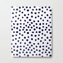 Mini dots painterly brushstrokes boho modern indigo blue and white preppy nautical dorm college art by charlottewinter