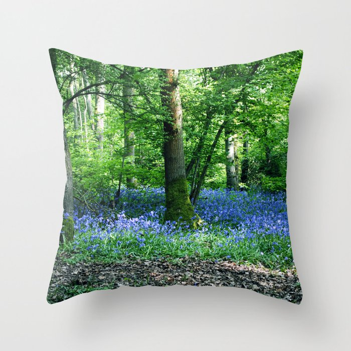 The Bluebell Dell Throw Pillow