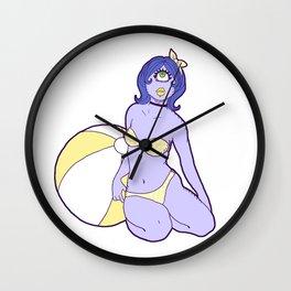 Itsy Bitsy Tini Wini Yellow Polka Dot Bikini Wall Clock