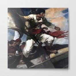 """Pirate Attack"" by Frank E Schoonover Metal Print"