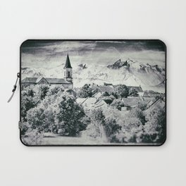 Old French village in countryside Mont Blanc mountains vintage styled Laptop Sleeve