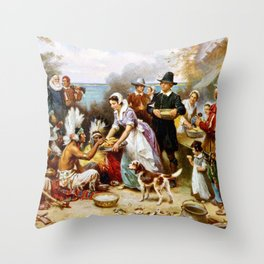 The First Thanksgiving 1621 By Jean Leon Gerome Ferris Throw Pillow