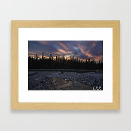 Confluence of the Blue Water and Columbia River at sunset Framed Art Print