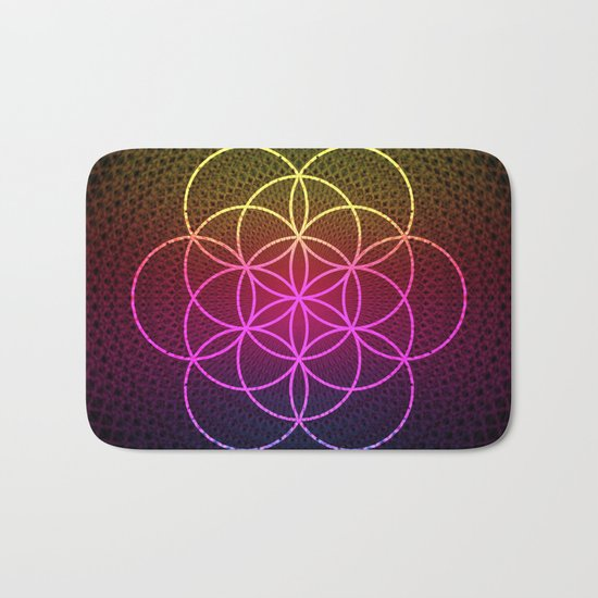 Sacred Rainbow Flower of Life Bath Mat