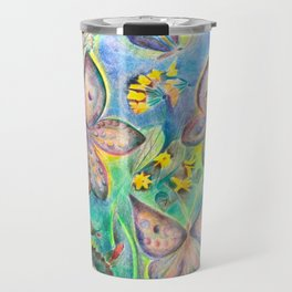 Butteflies and roseflower in the nature Travel Mug