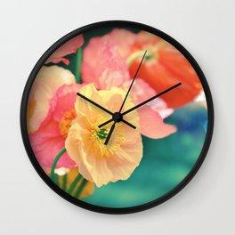 Vintage Pastel Poppies in Golden & Peach tones Wall Clock