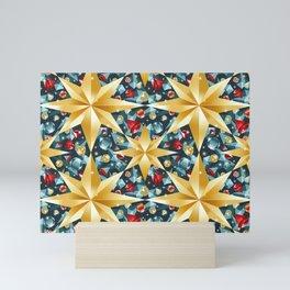 christmas stars pattern Mini Art Print