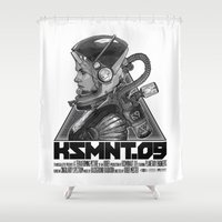 soviet Shower Curtains featuring KOSMONAUT 09 by Snark