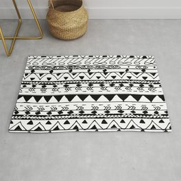 Hand painted black white watercolor aztec pattern Rug