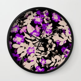 purple canary creeper flower with silhouette leaves on black Wall Clock